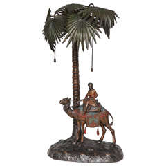 Fine Viennese Cold Painted Bronze Orientalist Lamp Attributed to Bergman