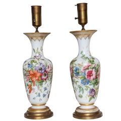 Pair of Baccarat Opaline Finely Painted Vases Attributed to Jean Francois Robert