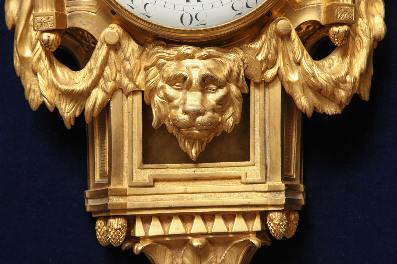 Antique French Louis XVI Period Dore Bronze Striking Cartel Clock, 18th Century In Excellent Condition For Sale In New York, NY