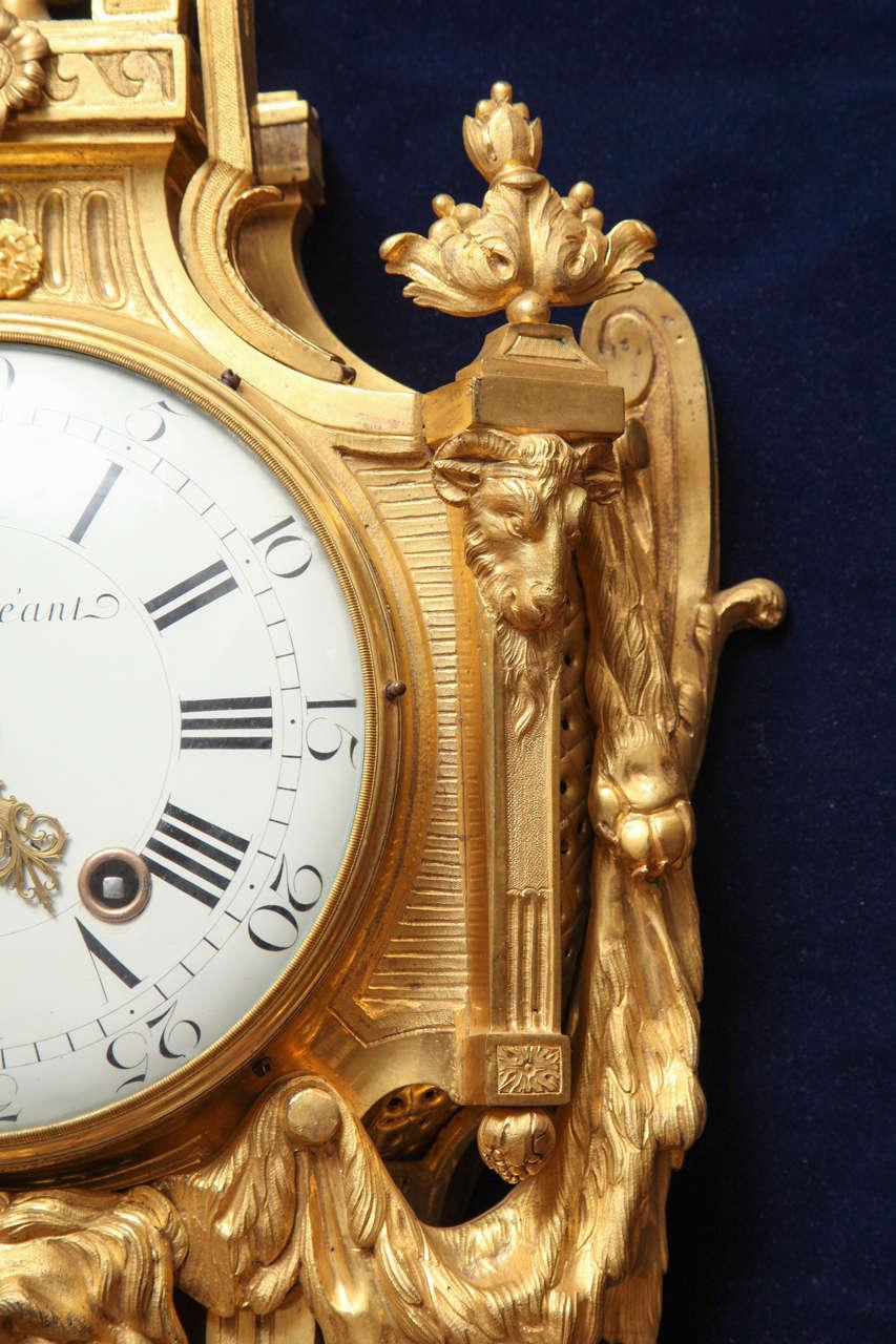 Antique French Louis XVI Period Dore Bronze Striking Cartel Clock, 18th Century For Sale 1