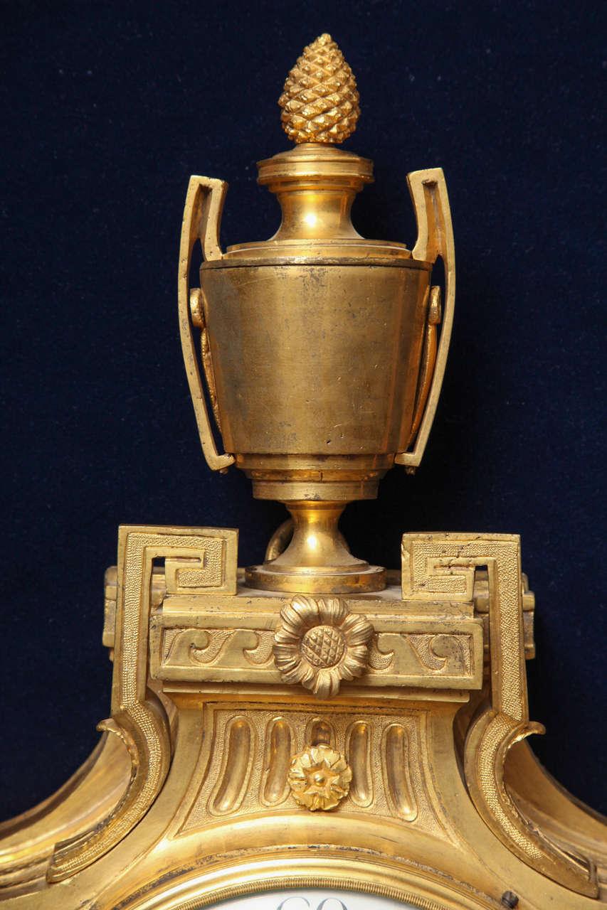 Antique French Louis XVI Period Dore Bronze Striking Cartel Clock, 18th Century For Sale 2
