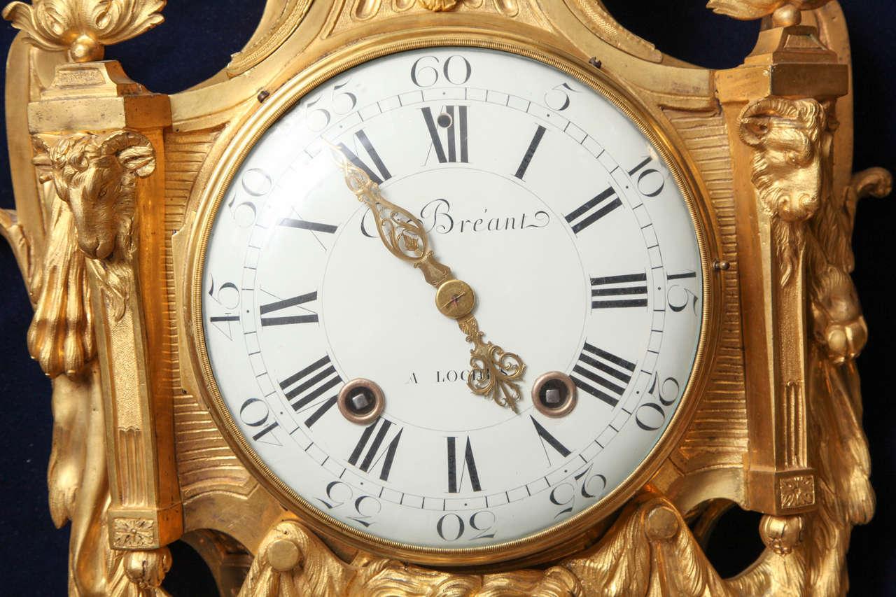Antique French Louis XVI Period Dore Bronze Striking Cartel Clock, 18th Century For Sale 3