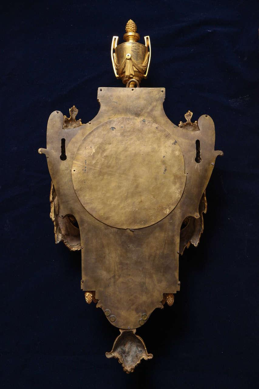 Antique French Louis XVI Period Dore Bronze Striking Cartel Clock, 18th Century For Sale 5