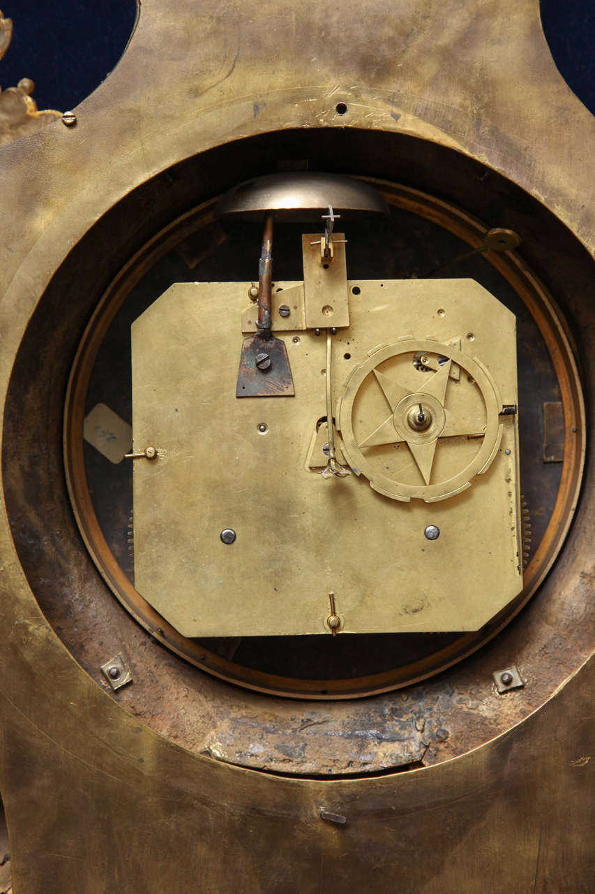 Antique French Louis XVI Period Dore Bronze Striking Cartel Clock, 18th Century For Sale 6