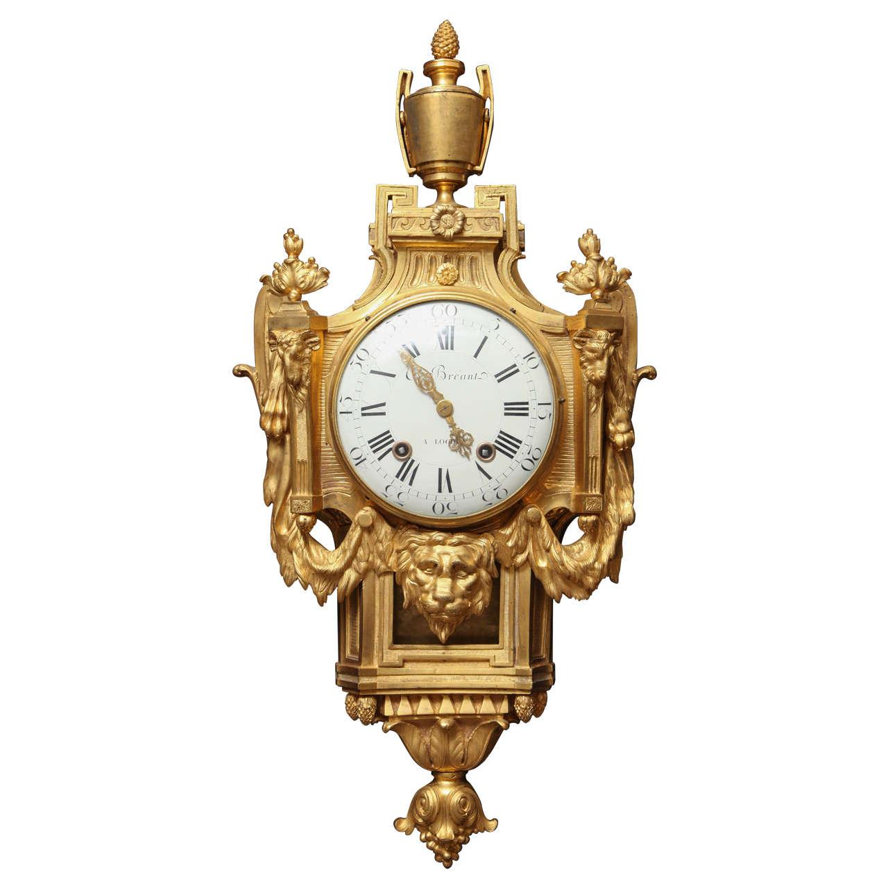 Antique French Louis XVI Period Dore Bronze Striking Cartel Clock, 18th Century For Sale
