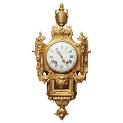 Antique French Louis XVI Period Dore Bronze Striking Cartel Clock, 18th Century