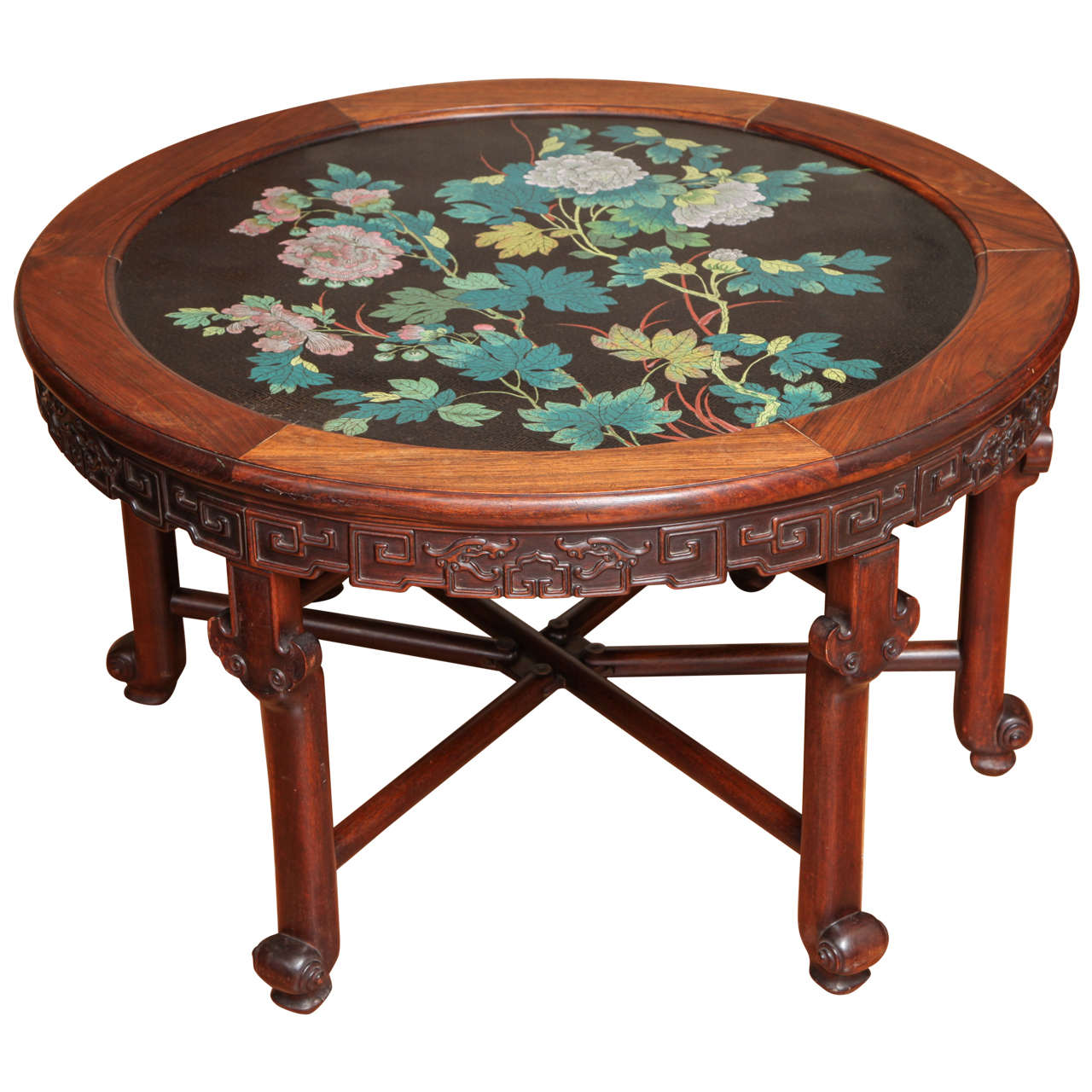 Antique Chinese Carved Rosewood and Floral Enamel Cloisonné Circular Table  For Sale - Antique Chinese Carved Rosewood And Floral Enamel Cloisonné Circular