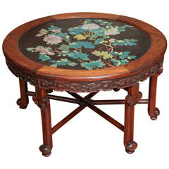 Antique Chinese Carved Rosewood and Floral Enamel Cloisonné Circular Table