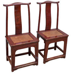 Pair of Red Lacquer Chinese Side Chairs, 19th Century