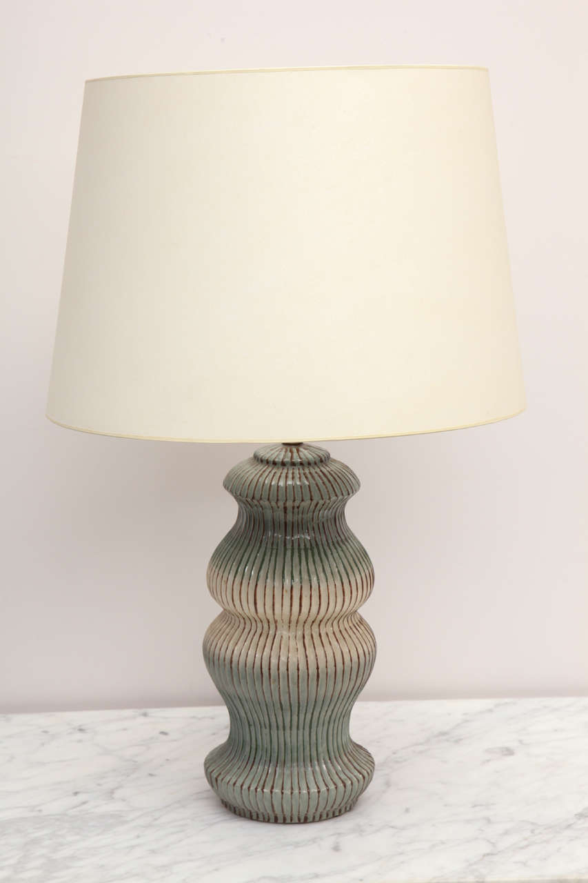 unique herman kleiner ceramic table lamp at 1stdibs