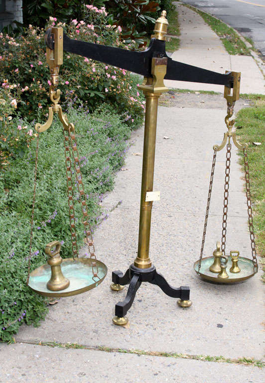 Large Antique French Brass and Iron Balance Scale with Weights 8