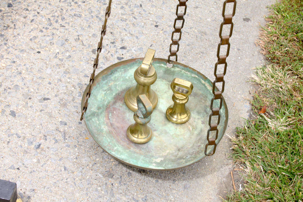 Large Antique French Brass and Iron Balance Scale with Weights 10