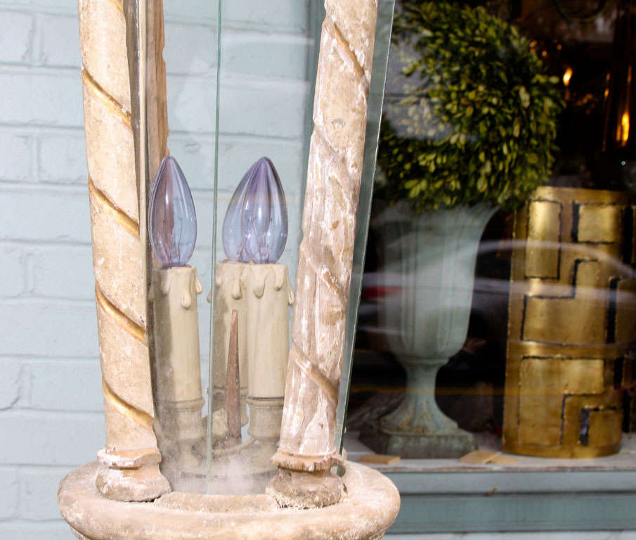 20th Century Pair of Large-Scale French Artisan Crafted Wood and Glass Lanterns For Sale