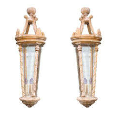 Pair of Large-Scale French Artisan Crafted Wood and Glass Lanterns