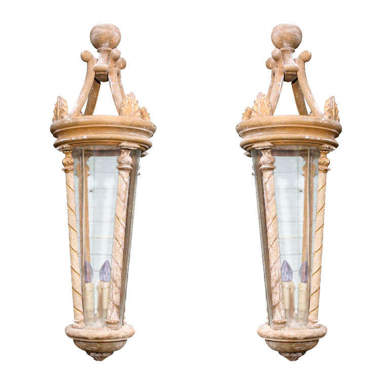 Pair of Large-Scale French Artisan Crafted Wood and Glass Lanterns For Sale