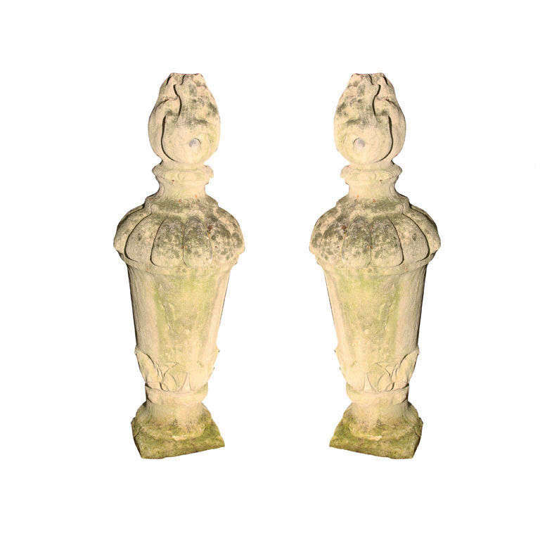 Pair of Tall Carved Stone Flame Finials