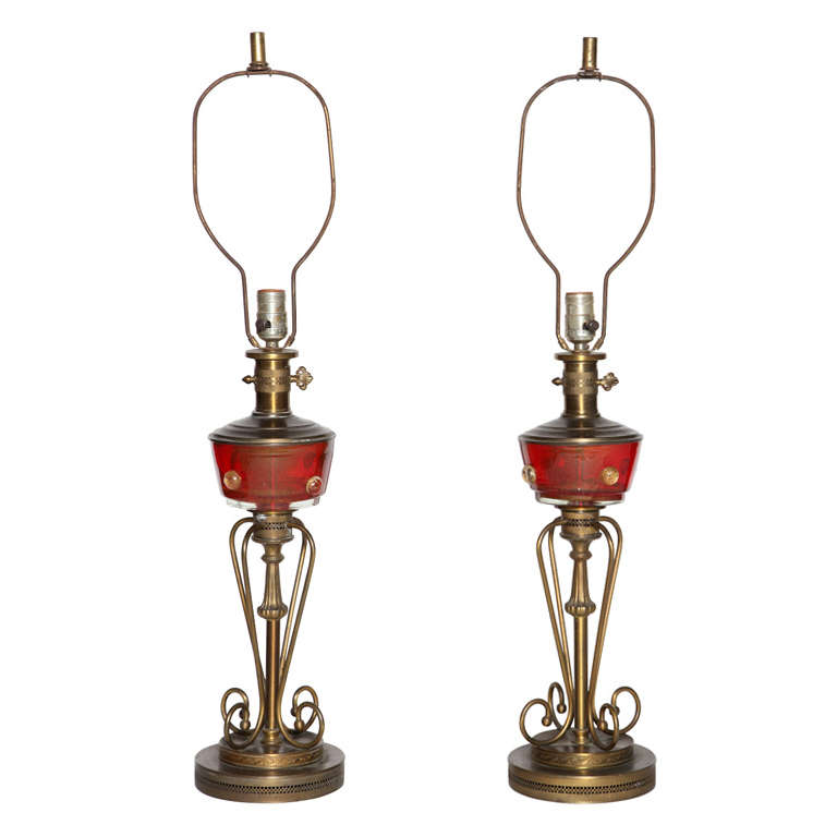 Pair of 1940's Italian Neapolitan Red Murano Glass and Brass Table Lamps