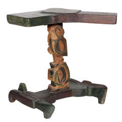 "Signed 1950s Smokey Tunis Hand-Sculpted and Hand-Painted ""Tiki"" Pine Table"