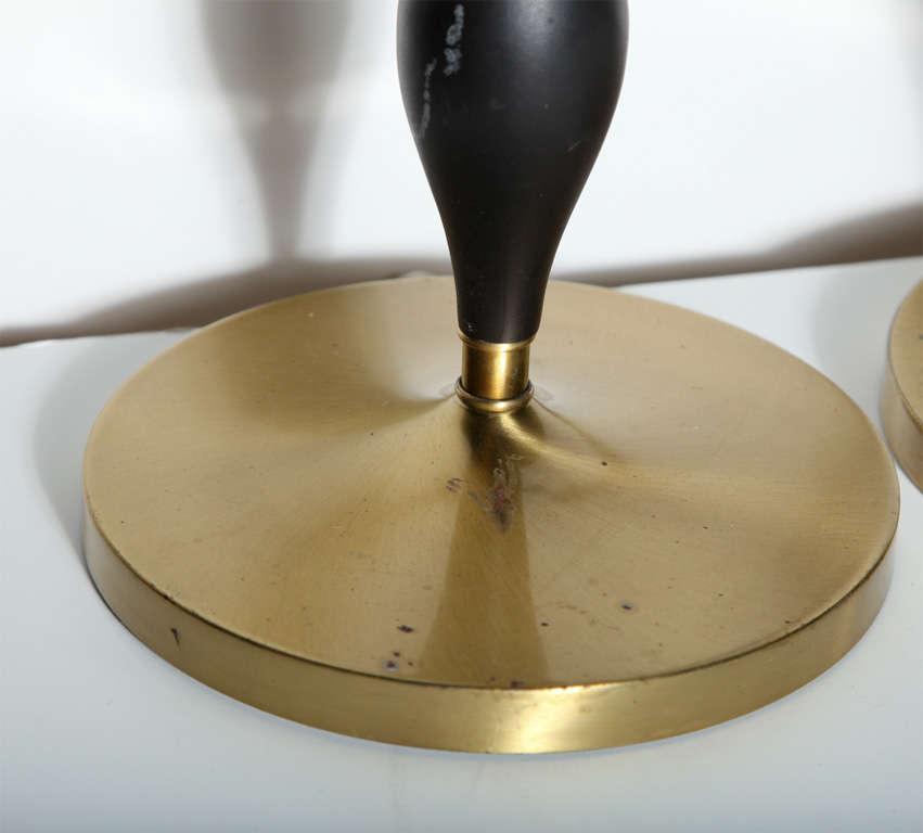 Mid-20th Century Pair of Rembrandt Lamp Co. 1950s Brass & Black Fleur-de-LIs Black Handled Lamps For Sale