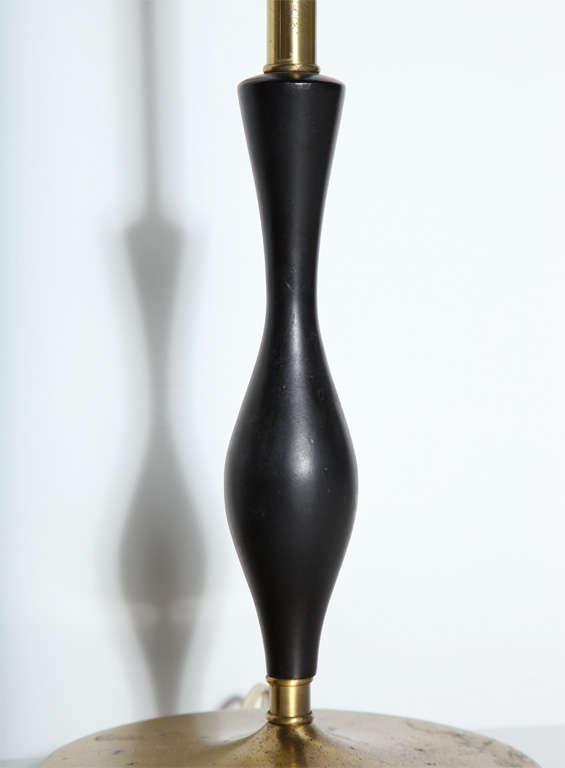 American Pair of Rembrandt Lamp Co. 1950s Brass & Black Fleur-de-LIs Black Handled Lamps For Sale