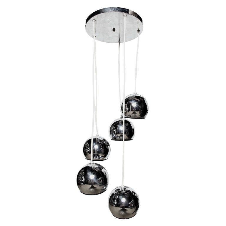 Goffredo Reggiani Italian Modern Tiered Five Chrome Globe Hanging Lamp, 1960s