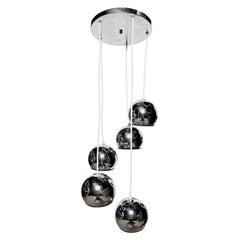 Goffredo Reggiani Italian Modern Five Tier Chrome Globe Hanging Lamp, 1960s