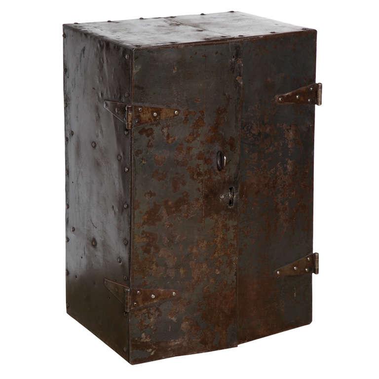 Circa 1900 Industrial Riveted Steel Two Door Locking Safe, Locking Cabinet