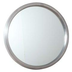 "Monumental ALCOA Letter ""O"" Circular Cast Brushed Aluminum Mirror, 1950s"