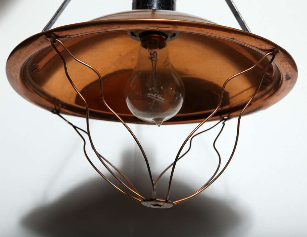 American Early 20th Century Industrial Copper Pendant  For Sale