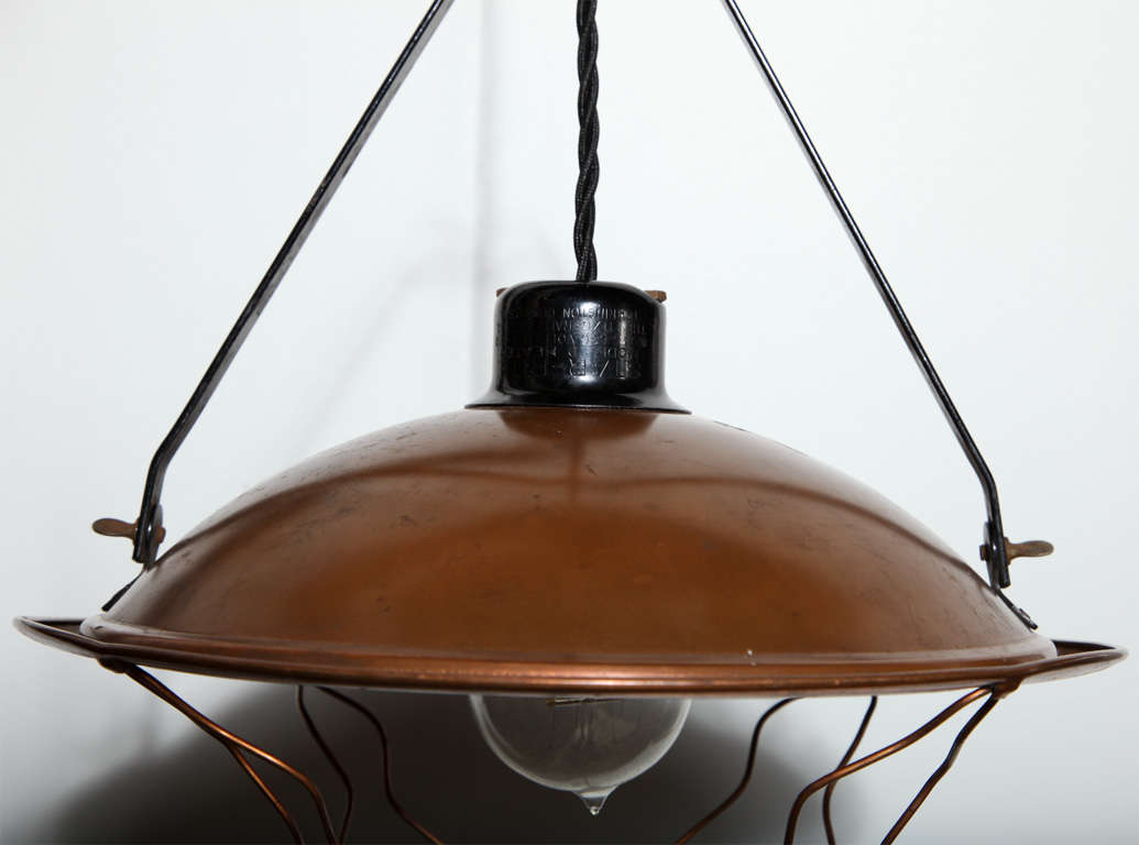 Early 20th Century Industrial Copper Pendant  In Good Condition For Sale In Bainbridge, NY