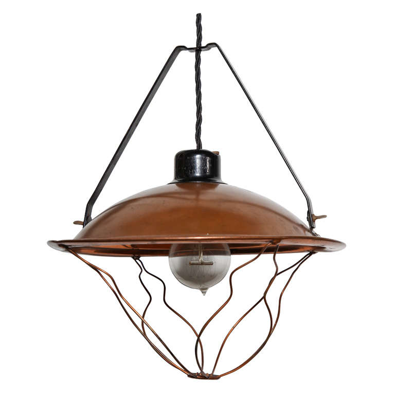 Early 20th Century Industrial Copper Pendant  For Sale