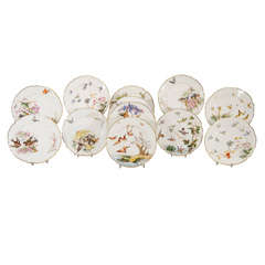12 French Hand Painted Dessert Plates W/ Butterflies &  Birds