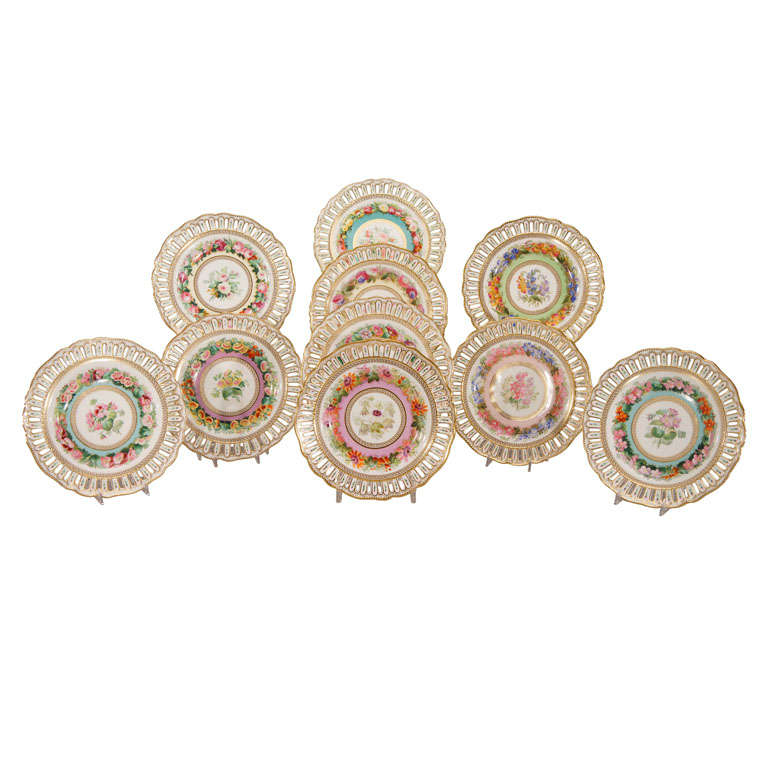 Set of 10 Hand Painted Botanical Pierced Cabinet Plates