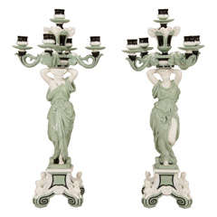 Pair of Minton 19th c. Monumental 5 Light Porcelain Candelabra