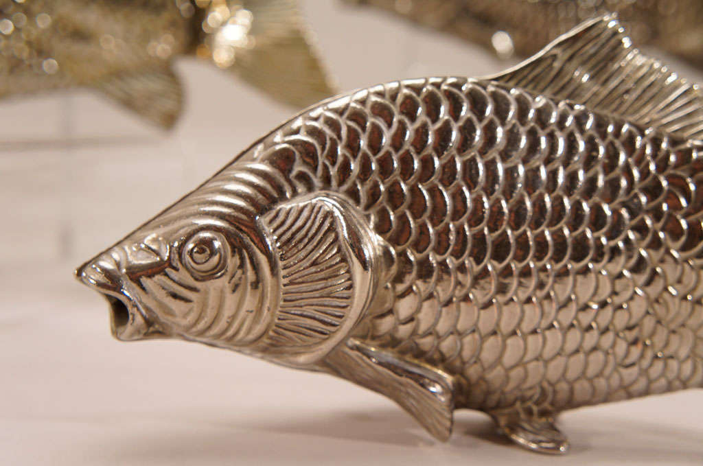 12 Italian Figural SilverPlate Fish Menu Holders/Table Markers For Sale 2