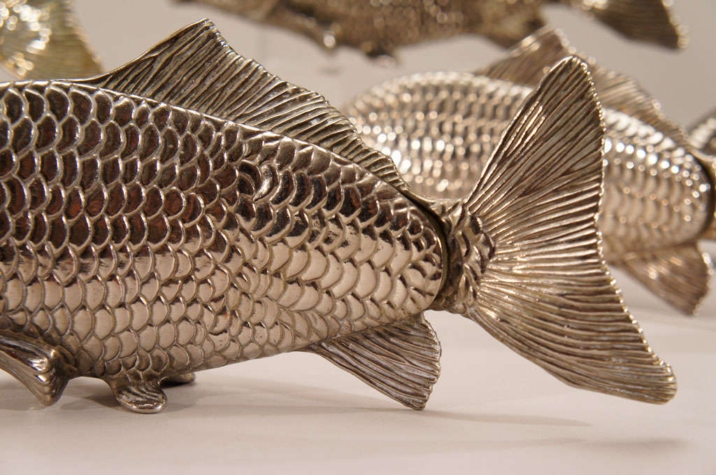 12 Italian Figural SilverPlate Fish Menu Holders/Table Markers For Sale 3