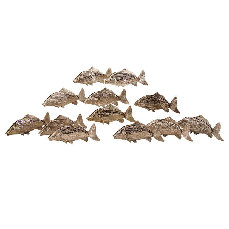 12 Italian Figural SilverPlate Fish Menu Holders/Table Markers For Sale