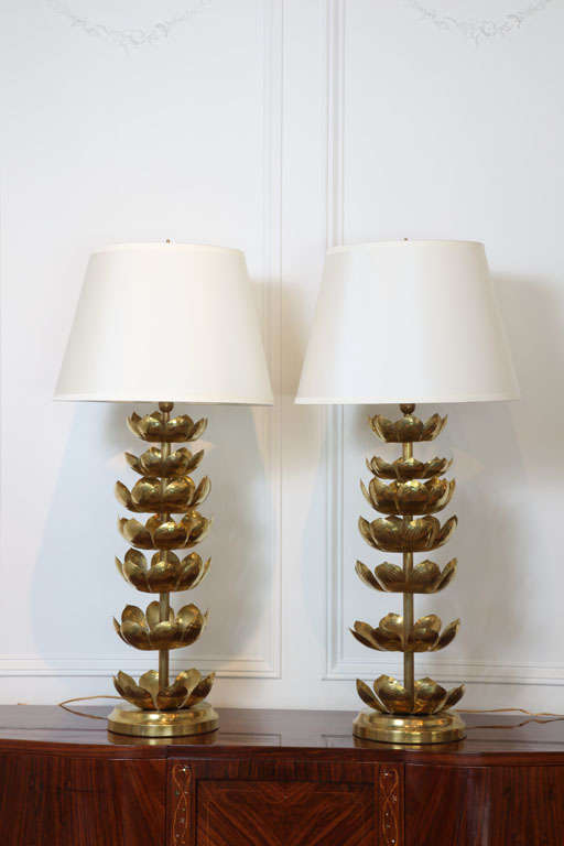 Pair Of Brass Lotus Leaf Table Lamps 2