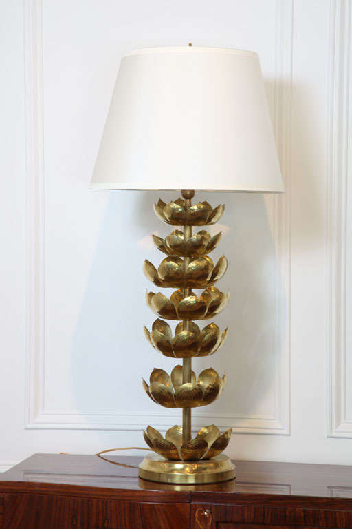 Pair Of Brass Lotus Leaf Table Lamps 3