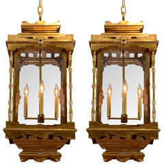 A Pair of Antique Regency Brass Hall Lanterns