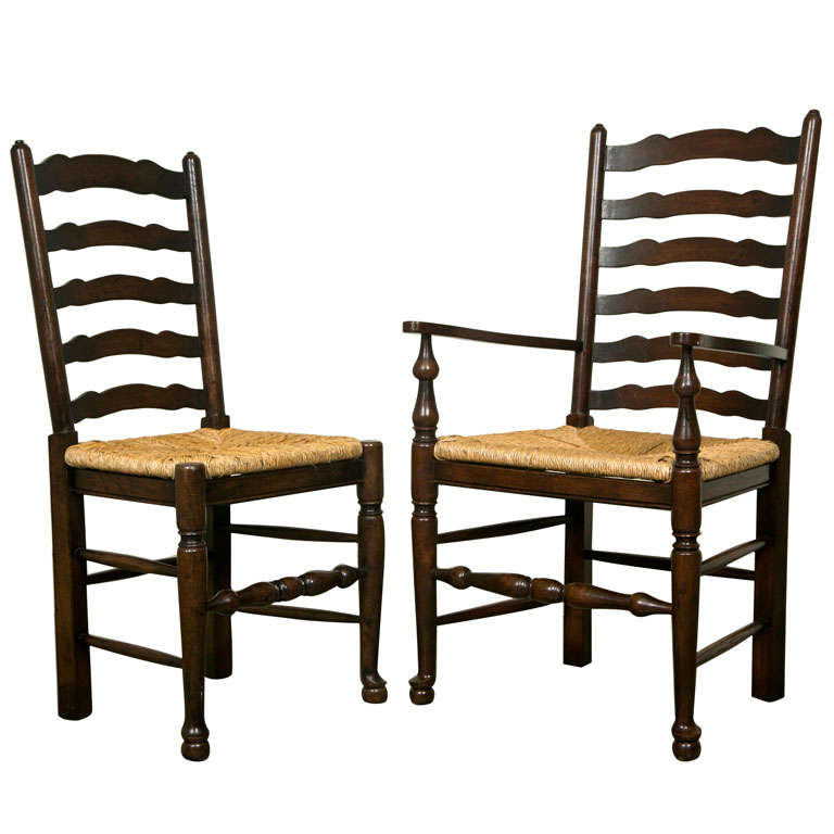 Set Of Eight English Oak Wavy Ladder Back Chairs With Rush Seats