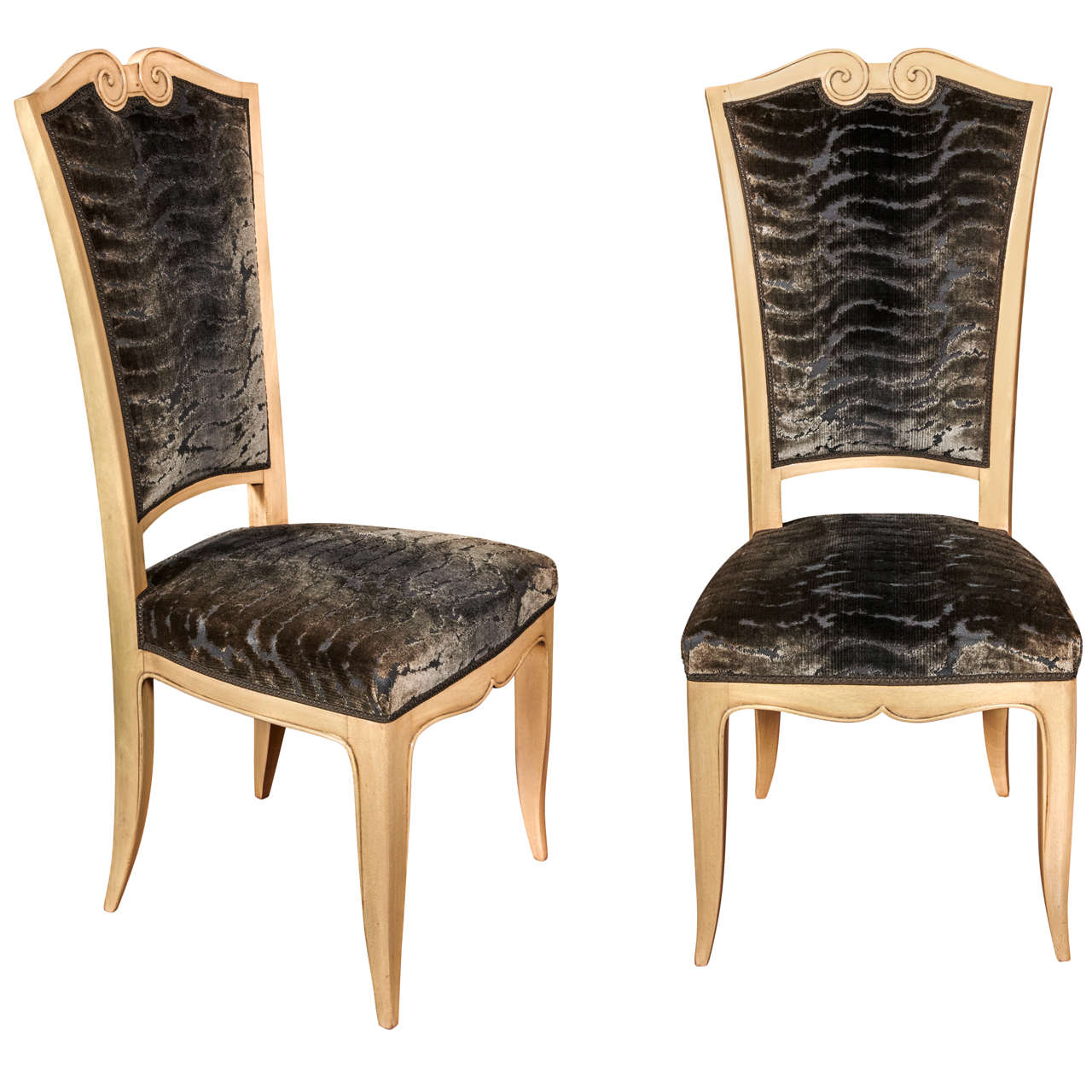 Set of eight high back chairs