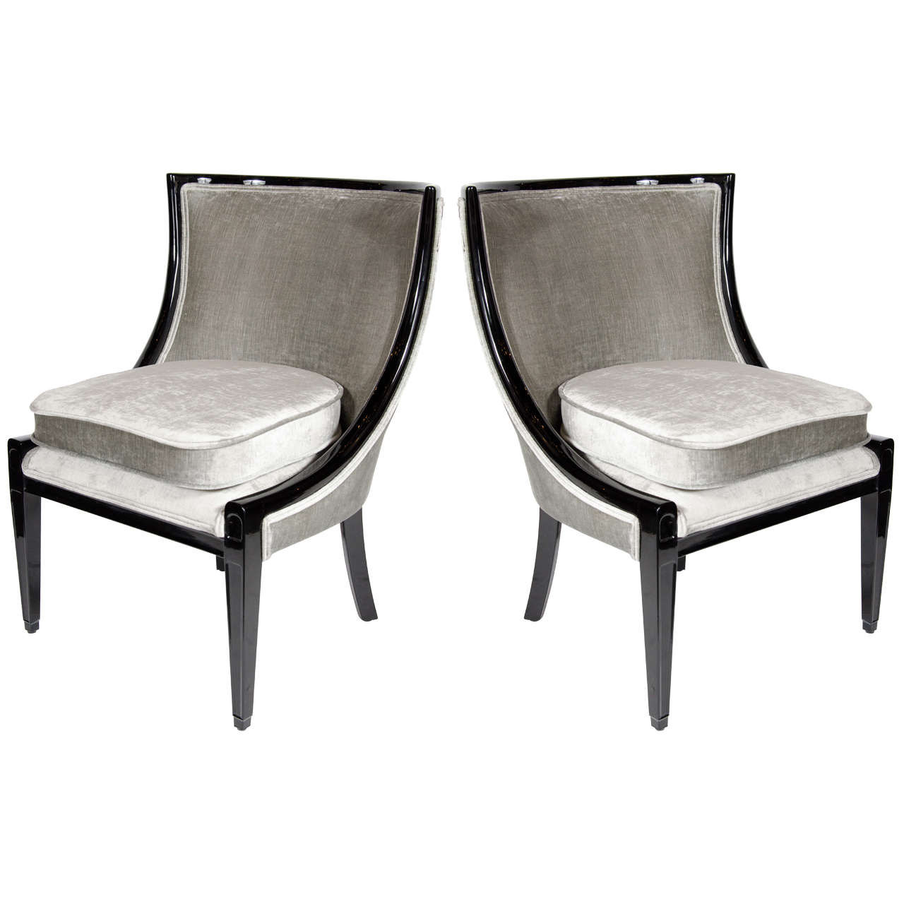 Luxe pair of klismos chairs with curved back design at 1stdibs