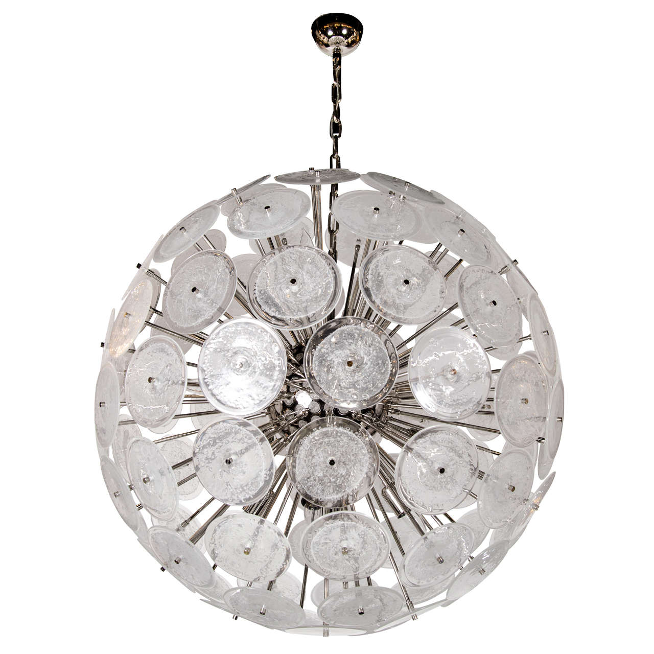 Spectacular Modernist Vistosi Disc Sputnik Chandelier