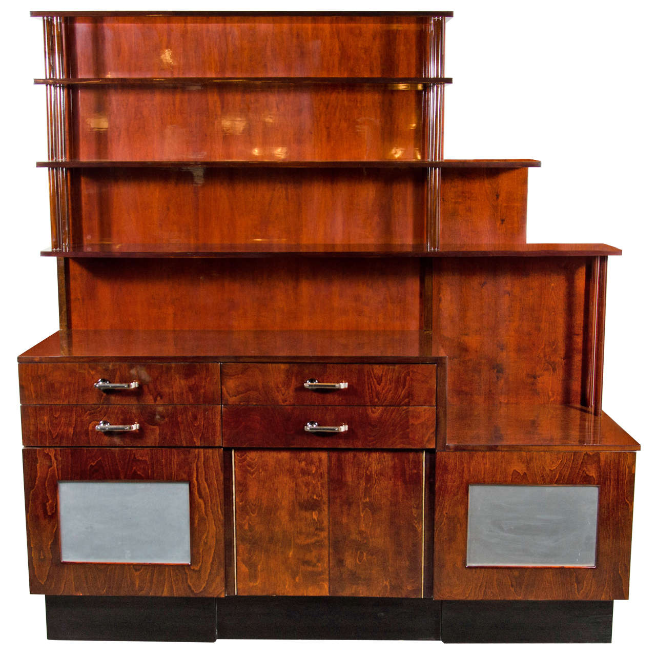 outstanding machine age art deco bar cabinet server at 1stdibs. Black Bedroom Furniture Sets. Home Design Ideas