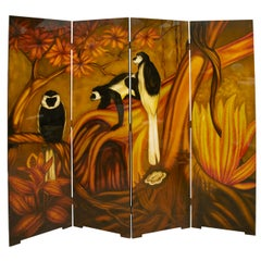 1970s Lacquered Wood Folding Screen