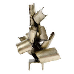 Brutalist Torch Cut Steel Sculpture by Marcello Fantoni