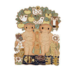 Mid-Century Glazed Ceramic Adam & Eve Relief Wall Sculpture