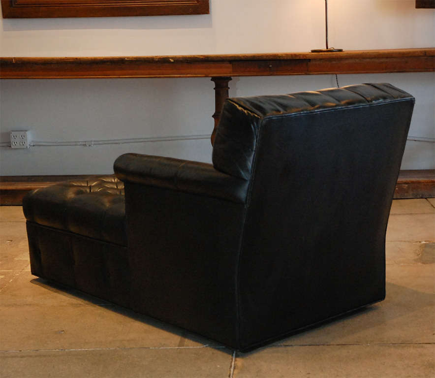 Gentleman 39 s chaise in black leather at 1stdibs for Black leather chaise