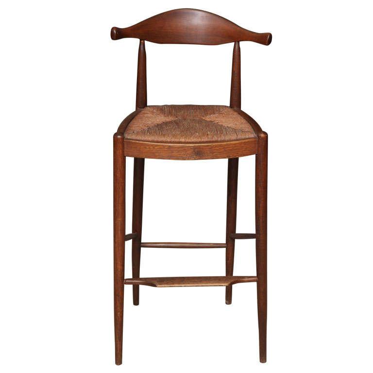 hans wegner style cow horn teak bar stool at 1stdibs. Black Bedroom Furniture Sets. Home Design Ideas